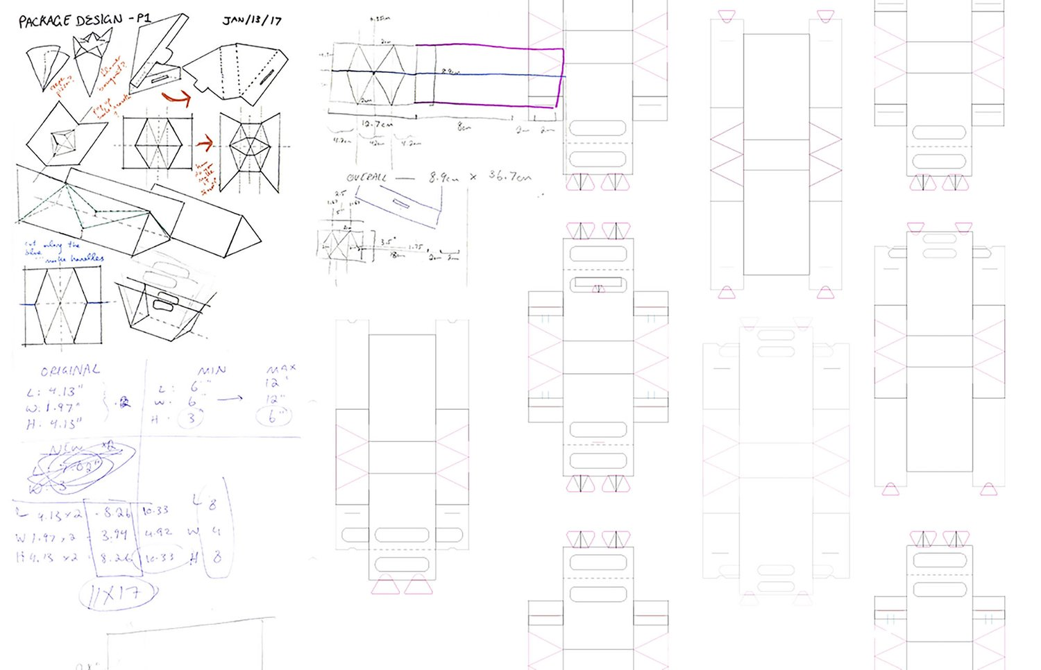 Explorations through sketching, dielines, and prototyping.
